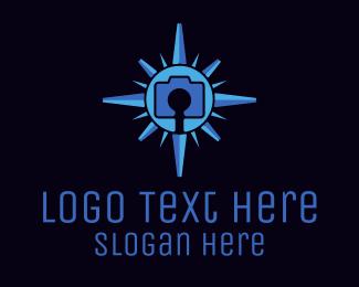 Directional - Blue Camera Compass logo design