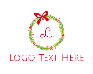 Mistletoe - Christmas Wreath logo design