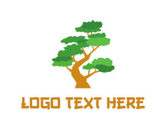 Karate - Bonsai Tree logo design