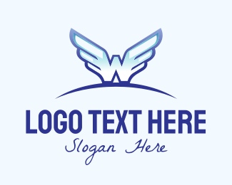 Army - Blue Wide Wings logo design