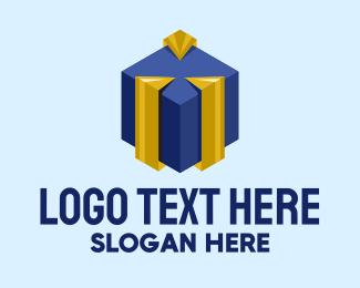 Purple And Yellow - Modern Gift Box logo design