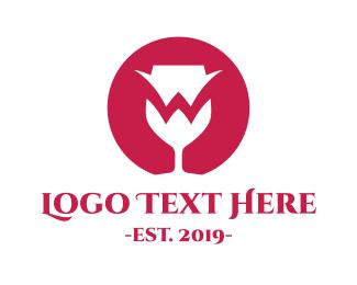 Dinnerware - Red Wine Glass W logo design