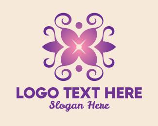 Aromatherapy - Purple Yoga Lily Wreath logo design