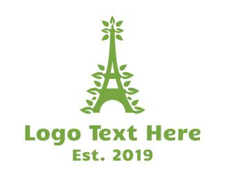 Ecotourism - Green Leafy Eiffel Tower logo design