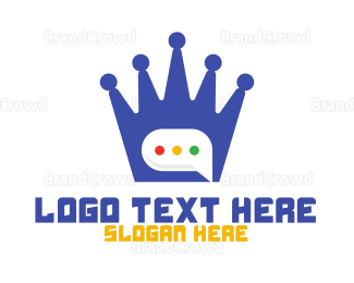 Text Message - Blue Crown Chat logo design