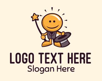 Illustration - Light Bulb Magician Mascot logo design