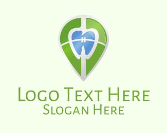 Dental - Dental Braces Location Pin logo design