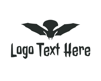 Dracula - Monster Skull Wing logo design
