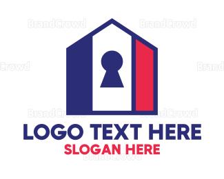 Encrypted - USA House Key logo design
