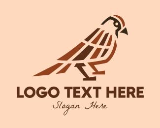 Stationery Shop - Brown Sparrow Bird logo design