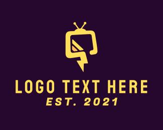Monitor - Flash Television logo design