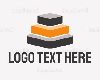 Orange And Gray - Gray & Orange Pyramid logo design