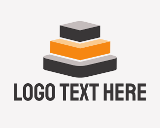 Ladder - Gray & Orange Pyramid logo design