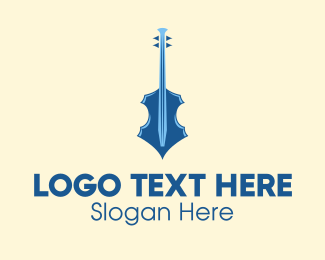 String Instrument - Modern Blue Violin logo design