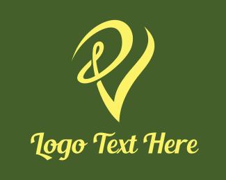 Dance - Swirly Yellow V logo design