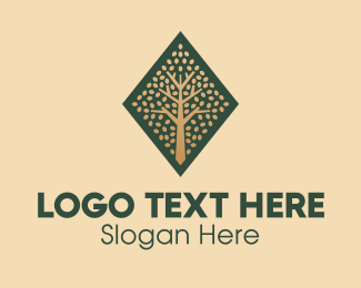 Roots - Diamond Tree Emblem  logo design