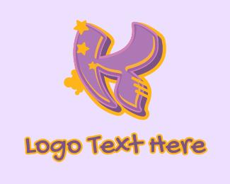 Record Producer - Graffiti Star Letter K logo design