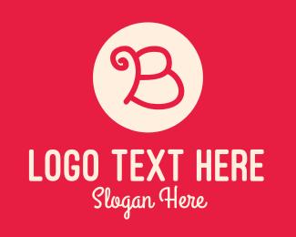 Initial - Pink Handwritten Letter B logo design