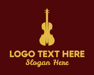 Brass Instrument - Yellow Violin Music logo design