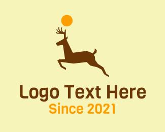 Circle - Brown Running Deer logo design