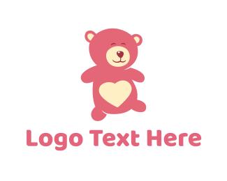 Stuffed Animal - Pink Teddy Bear logo design