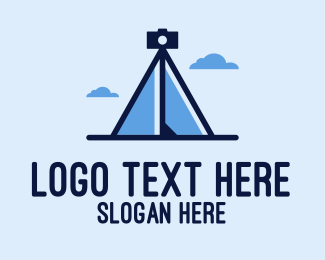 Camping Ground - Camera Tripod Tent  logo design