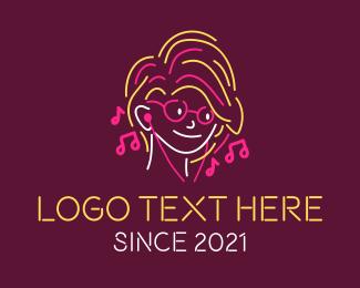 Neon Lights - Neon Earphones Teen logo design