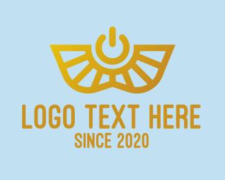 Power Button - Gold Power Symbol logo design