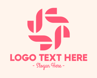 Botique - Pink Abstract Flower logo design