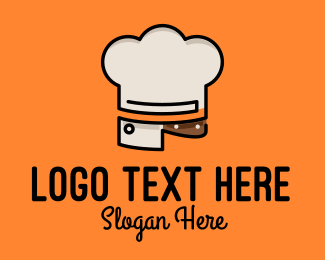 Meat - Chef Hat Chopping Knife logo design