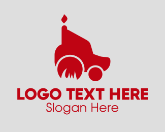 Fuel Station - Red Gas Fire Truck logo design