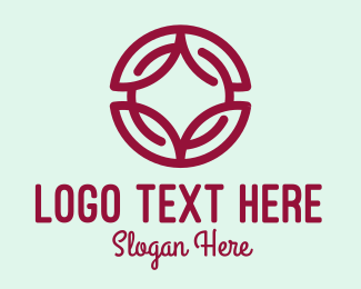 Events - Maroon Abstract Floral Wreath  logo design