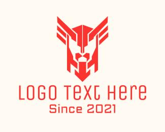 Twitch - Red Winged Helmet logo design