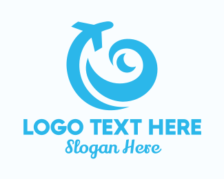 Airline - Blue Wave Travel Agency logo design