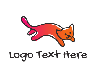Kitten - Cute Gradient Cat logo design
