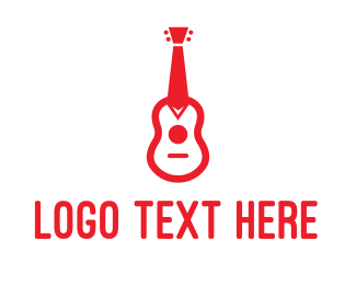 Music Lessons - Red Tie Guitar logo design