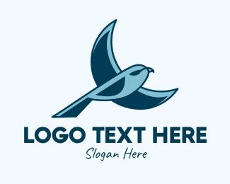Robin - Blue Bird Flying logo design