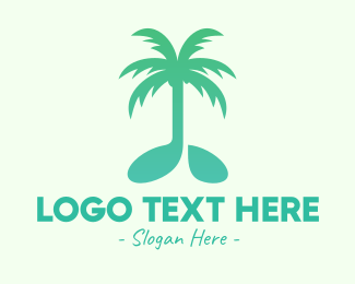 Melody - Teal Coconut Tree Music Note logo design