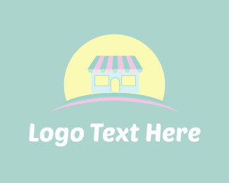 Yellow Girl - Cute Store & Sun logo design