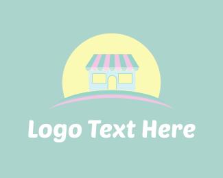 Sell - Cute Store & Sun logo design