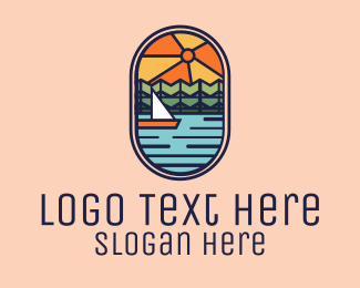 Fishing Boat - Lake River Sunset Sailing Cruise logo design