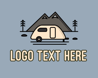 Mountain Climbing - Campervan Mountain logo design
