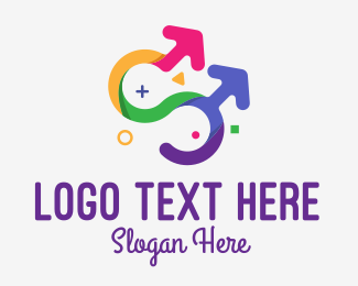 Gay Marriage - Colorful Gay Couple logo design