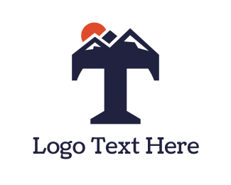 Tourist - Abstract Mountain T logo design