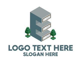 Construction - Modern Building Letter E logo design