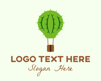 Basket - Hot Air Cactus Balloon logo design