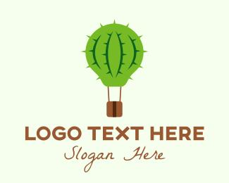 Cactus - Hot Air Cactus Balloon logo design