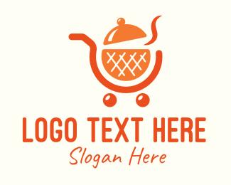 Food Cart - Orange Food Shopping Cart logo design