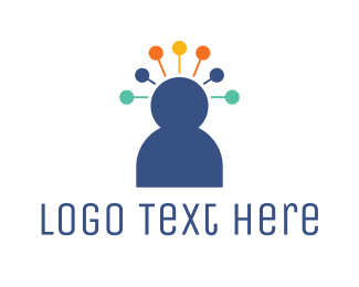 Human Resource - Pin Head Person logo design
