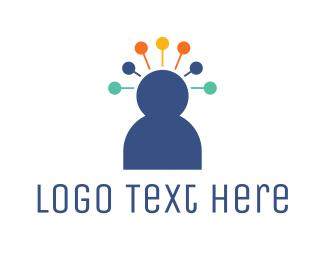 Ideas - Pin Head Person logo design